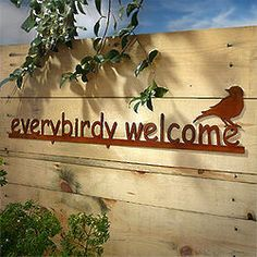 Everybirdy Welcome Whimsical Garden Sign
