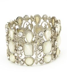 Silver & Crystal Cabochon Stretch Bracelet | Daily deals for moms, babies and kids