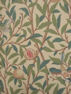 Bird And Pomegranate Wallpaper from William Morris Archive Wallpapers 2 Collection. A cream wallpaper featuring birds nestling in fruit bearing pomegranate trees. William Morris Wallpaper, Morris Wallpapers, Cream Wallpaper, Old Wallpaper, Fabric Wallpaper, Craftsman Style Interiors, Conservatory Decor, Victorian Living Room, Bird Design