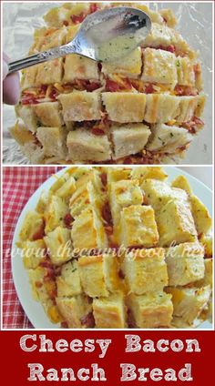 Bacon Ranch Pull-Apart Bread The Country Cook: Cheesy Bacon Ranch Bread recipe. The perfect party for for game day. All my favorite things-cheese, bread, and BACON! Bread Recipes, Cooking Recipes, Bacon Recipes, Dip Recipes, Brunch Recipes, Easy Recipes, Chicken Recipes, Good Food, Yummy Food