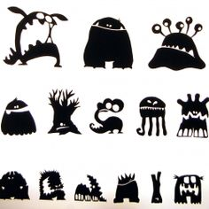 cute #monsters in black and white