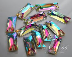 12pcs AB Crystal RECTANGLE 9mm x 255mm sew on crystal by ALLURISS, $11.40