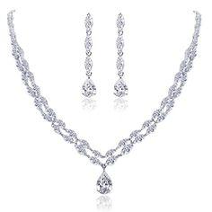 Ever Faith CZ elegant Art Deco Blume Braut Halskette mit Ohrring Anhänger Schmuck-Set Klar Silber-Ton N02927-1 Ever Faith http://www.amazon.de/dp/B00ISQ856E/ref=cm_sw_r_pi_dp_LFXVvb1PR9BQS