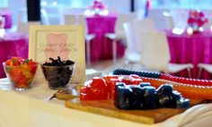 """Gummy Bear Carving Station from FCI Events & Catering  - Check out 4 Ideas for """"To-Go"""" Bar & Bat Mitzvah Treats - mazelmoments.com"""