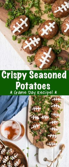 Crispy seasoned potatoes that are perfect for game day! This easy Super Bowl recipe is a unique potato recipe that is perfectly seasoned, crispy, and fun. #SuperBowlRecipe #GameDayRecipe #SeasonedPoatoes