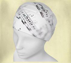 Headband - Music on White - Wee Dog - Yoga headband - Pilates headband - Microknit - Quick dry - Ecopoly - Notes - Sheet Music - Musician by WeeDogWearableArt on Etsy