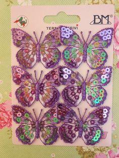 Toppe ricamate - Applicazioni Paillettes Farfalle Lilla pz.2 - un prodotto unico di raffasupplies su DaWanda