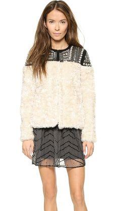 Free People Faux Fur Embellished Jacket