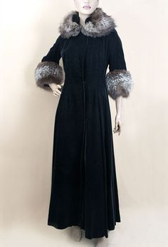 Fox trimmed velvet evening coat,