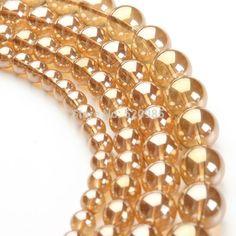 Шампанское золото Металлическим Титановым Покрытием Природный Кварцевый Стекло Гладкой Круглые Бусины 4 мм 6 мм 8 мм 10 мм 12 мм GB056