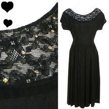 Vintage 40s Black Lace Swing Dress XS S
