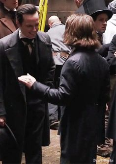 "barrybucks: "" Daniel Radcliffe and Andrew Scott having a good time on the set of ""Victor Frankenstein"" """