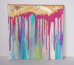 12x12 Abstract Drip Canvas Painting with Gold by ModArtbyMahlon
