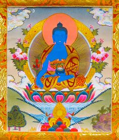 Medicine Buddha pictured. Click to hear the Medicine Buddha Chant of Healing. Purpose: To eliminate not only the pain of diseases but also to help overcome the inner sicknesses which cause suffering. Site also has Christian etc Healing songs:  Chants - Lightkin.com