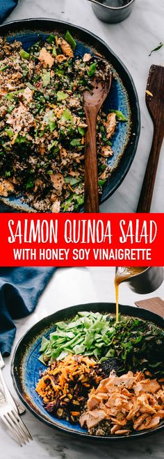 This salmon quinoa salad with honey soy dressing checks all of my weeknight dinner requirements - healthy, easy, fast, and delicious. It's one of my favorite recipes for using up leftover salmon! #glutenfree #salmon #salad #quinoa #salmonquinoa