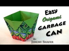 Easy Origami Garbage Can - YouTube