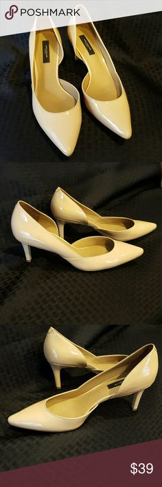"Patent leather pumps Very pretty pump Color is darker than in the picture, more tan than cream 2.75"" heel Ann Taylor Shoes Heels"