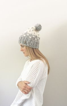 fc24dffa949 Items similar to Two-Tone Chunky Knit Fair Isle Slouchy Hat with Pom-Pom