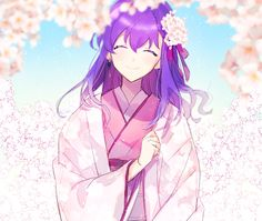 Under the sakura tree Beautiful Anime Girl, I Love Anime, All Anime, Manga Anime, Fate Zero, Fate Stay Night Movie, Rin Tohsaka, Type Moon Anime, Anime Kimono