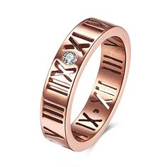 * Penny Deals * - 316L Titanium Stainless Steel Rings Bands Rose Gold Plated Roman Numerals Anniversary Engagement Rings Best Promise Rings Wedding Bridal Bands Fashion Jewelry Sparkly Rings Gift for Women,  Titanium Stainless Steel Rings Bands Rose Gold Plated Roman Numerals Anniversary Engagement Rings Best Promise Rings Wedding Bridal Bands Fashion Jewelry Sparkly Rings Gift for Women, 7 316L -- See this great product.