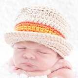 Another First Photo Shoot Idea -Newborn Grandpa Hall Hat with Orange Stripe.