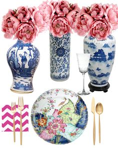 Savoir-Flair: Setting the Easter Scene with Tobacco Leaf table decor Dining Room Colour Schemes, Painted China Cabinets, Elegant Dinner Party, Easter Table Settings, Chinoiserie Chic, Hoppy Easter, Eclectic Decor, Accent Decor, Table Decorations