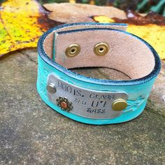"""Handcrafted stamped metal leather cuff bracelet """"Boots, Class, & a Lil Sass"""" painted and distressed turquoise by WildArrowStudio on Etsy https://www.etsy.com/listing/250552194/handcrafted-stamped-metal-leather-cuff"""