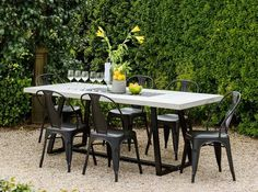 The Most Effective Rock Patio Ideas Outdoor Dining, Dining Table, Outdoor Decor, Early Settler, Outdoor Settings, Modern Spaces, Outdoor Furniture Sets, Patio Ideas, Garden Ideas