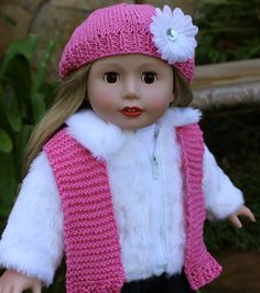 """Faux Fur Winter Coat. Hat and scarf set. Fits American Girl. Visit our 18 inch doll clothes and Harmony Club 18"""" Doll Collection. Our online store is at http://www.harmonyclubdolls.com"""