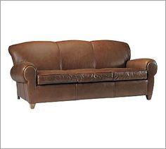 "Manhattan Leather Sofa #potterybarn - love this in Hazelnut -- 86"" long"