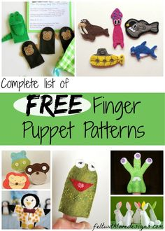 The Complete List of #FreePatterns and tutorials for making your own felt #FingerPuppets! {Felt With Love Designs}