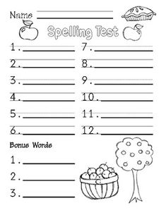 Free September Spelling Test Paper - I LOVE this because while some students are still catching up, others can be coloring the pictures in.