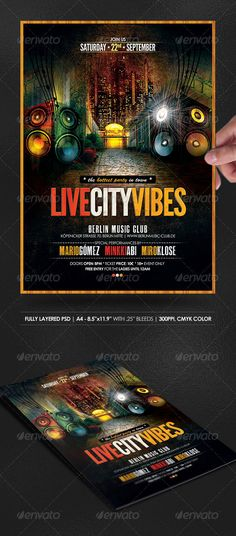 Live City Vibes Poster/Flyer  #GraphicRiver         This A4 flyer (2555pxx3583px) is the perfect design to use as a template for club and disco events, cocktail and private parties, festival ang gigs, and even for a book or for a magazine cover! It's easily editable and highly organized   STOCK RESOURCES: * My own Artistic Grunge Web Backgrounds…