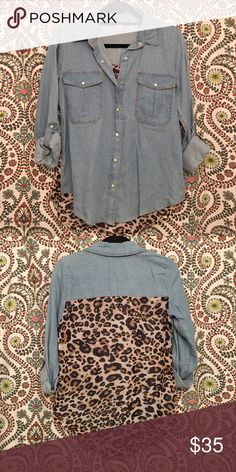 LAST CHANCE Gianni Bini Denim/Leopard Top GOING TO CONSIGNMENT/GOOD WILL AT THE END OF AUGUST, snag it before it's gone! NWOT Gianni Bini denim top with leopard print detail on back!! SO ADORABLE, it just doesn't coordinate with the rest of my closet!! Never worn, basically brand new condition!! Gianni Bini Tops Button Down Shirts