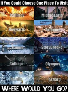 narnia, storybrooke, asgard, and hogwarts. i would want to go to narnia so i could meet caspian and the rest of the gang Percy Jackson, Book Memes, Book Quotes, Hogwarts, Citations Film, Fandom Quotes, Fandom Crossover, Fandoms Unite, Chronicles Of Narnia