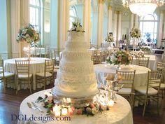 Atlanta Biltmore Georgian Ballroom wedding reception cake topper lily-of-the-valley gardenia simple elegance photo