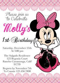 Minnie Mouse Birthday Invitation Invite Pink White Pok A Dot Digital File You Print
