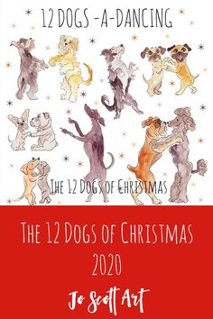 The 12 Dogs of Christmas Card Set, featuring Border Terriers, Pugs, French Bulldogs, English Bulldogs, Cockapoos, Greyhounds, Schnauzers, Border Collies, Boxers, Dachshunds and Poodles. Snoozing, Sledging and Posing their way through this delightful take on the 12 days of Christmas by dog artist Jo Scott. Dog Artist, Sketchbook Pages, Border Terrier, English Bulldogs, French Bulldogs, Schnauzers, Dachshunds, Thing 1 Thing 2, Pugs