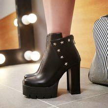 Sexy 2016 Otoño Estilo Punky de la PU Zapatos de Las Mujeres Botas de Moda cremallera Cuadrado Botines de Tacón Alto Plataforma Zapatos de Invierno Tamaño 34-43(China (Mainland))