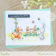 SugarPea Designs Spring 2020 Release: Day 2 Cards For Friends, Friend Cards, Spending Time With You, Distress Oxide Ink, Little Critter, Animal Cards, Woodland Animals, Creative Inspiration, Light Colors