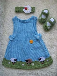 Baby Knitting Patterns Delicious Baby Set! #knit #free_pattern for dress + Mary Jan...