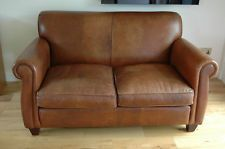 Laura Ashley Chestnut Brown Leather Two Seater Sofa - Leather 2 Seater Sofa