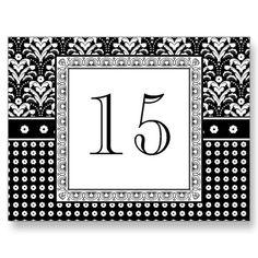 Art Deco Damask Wedding Table Numbers.  Elegant Black and White.