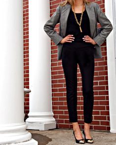 All black pants and top with a grey blazer/suit coat and gold toed pointed pumps. Very bold and business casual.