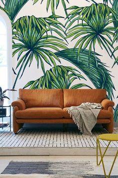botanical leaf wall mural #wallmural #botanicalwallmural #leafwallpaper #leafmural #mural #wallart #focalwall #muralwallpaper #wallpaper #wallpapermurals