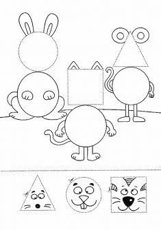 Coloring Worksheets For Kindergarten, Shapes Worksheet Kindergarten, Shapes Worksheets, Kids Math Worksheets, Preschool Learning Activities, Preschool Activities, Body Preschool, Lesson Plans For Toddlers, Math School