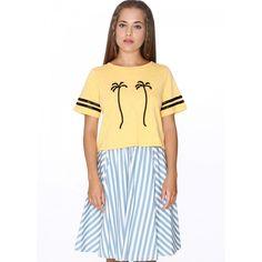 Top Palm Tree Limón - pepaloves - Camiseta corta de manga corta. Print dos palmeras en el pecho. Dos cintas negras en las mangas. Color amarillo