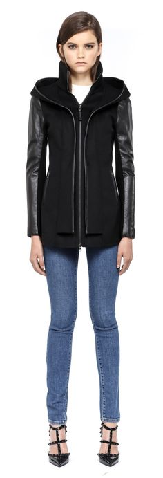 Mackage - EDITH BLACK HOODED LIGHT WOOL JACKET FOR WOMEN WITH LEATHER SLEEVES