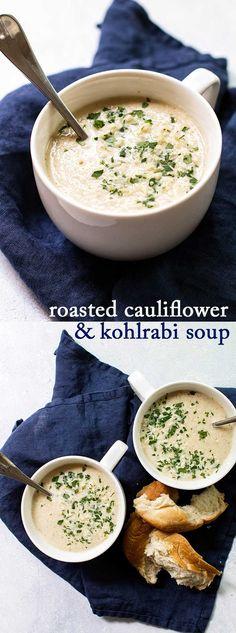 A cozy soup made with roasted cauliflower and kohlrabi #soup  via @april7116