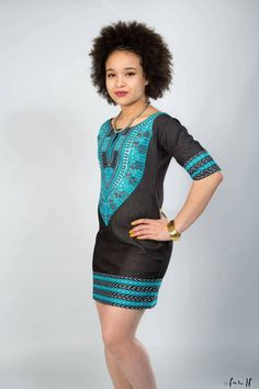 Robe jean dashiki turquoise by AfricanStyleAS on Etsy